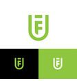 f and u letter monogram shield web icon vector image vector image