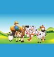 farm scene with animal farm cartoon style vector image vector image