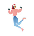 flat sketch woman winter clothing fun vector image vector image