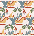 gnome sleight and reindeer in a seamless pattern vector image vector image
