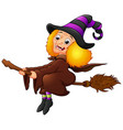 halloween witch flying on broom isolated on white vector image vector image