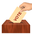 Hand putting voting paper in the ballot box vector image vector image