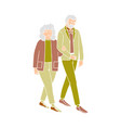 happy couple senior people walking and talking vector image vector image