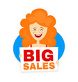 happy cute smiling red woman with big sale vector image