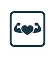 heart with muscle arms icon Rounded squares button vector image vector image