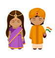 indians in national dress with a flag vector image vector image
