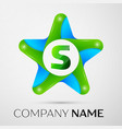 letter s logo symbol in the colorful star on grey vector image