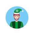man christmas elf santa helper concept face avatar vector image vector image