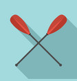 metal crossed oars icon flat style vector image vector image