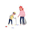 mother and her son gathering garbage and plastic vector image vector image