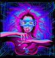 neon horoscope cyberpunk zodiac sign leo vector image vector image