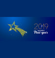 new year 2019 gold glitter holiday shooting star vector image vector image