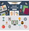 Online education flat concept background banner vector image vector image