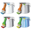 Paint bucket and brush in different colors set vector image vector image