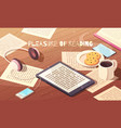 pleasure of reading isometric vector image vector image