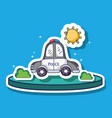 police car transportation with sun and bushes vector image vector image