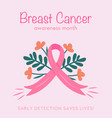 poster for breast cancer awareness month flyer vector image vector image