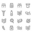 probiotics dietary supplements thin line icons vector image vector image