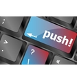 push key on computer keyboard business concept vector image vector image