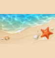 sea cost with ocean wave and shells on sand vector image vector image