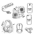 set of hand drawn computer accessories doodles vector image