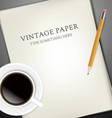 sheets paper pecin and cup coffee vector image