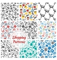 Shopping retail seamless patterns set vector image vector image