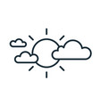 simple icon in line art style with sun and clouds vector image vector image
