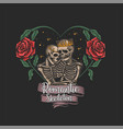 skeleton in love flower frame vector image vector image