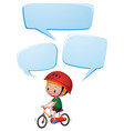 speech bubble template with boy on bike vector image vector image