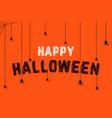 spiders on scribble happy halloween text vector image