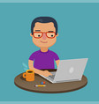 student using laptop for education cartoon vector image