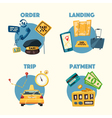 Taxi service Cartoon Trip and payment vector image