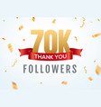 thank you 70000 followers design template social vector image vector image