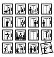 things that people do inside elevator lift stick vector image vector image