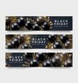 three black friday horizontal sale poster vector image