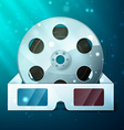 three d glasses and film reel vector image vector image