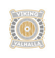 viking valhalla isolated label with war shield vector image