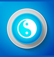 white yin yang symbol of harmony and balance icon vector image