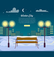 winter city web banner urban town at night vector image vector image