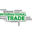 word cloud international trade vector image vector image