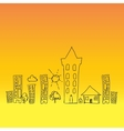 doodle town draw sun vector image