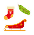 christmas stocking sleigh and fir tree branch vector image