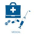 medical blue flat icon on white background vector image