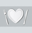 plate in shape of heart knife fork vector image