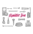 Hand Drawn Cosmetic Icons Set vector image