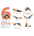 6 yoga poses for flatter belly concept vector image vector image