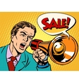 Agitator with megaphone announces sale vector image vector image