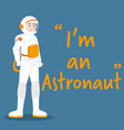 astronaut character with white uniform on blue vector image vector image