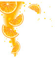 Background of Oranges and Juice Splashes vector image vector image